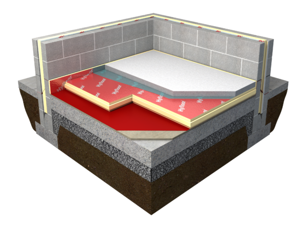An illustration of layers on a floor that is insulated with Xtratherm Hyfloor Tongue & Groove for reduced thermal bridging