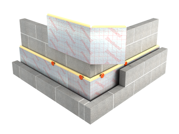 An illustration of Xtratherm Cavity Wall Plus Tongue & Groove Insulation showing the continuity that prevents thermal bridging