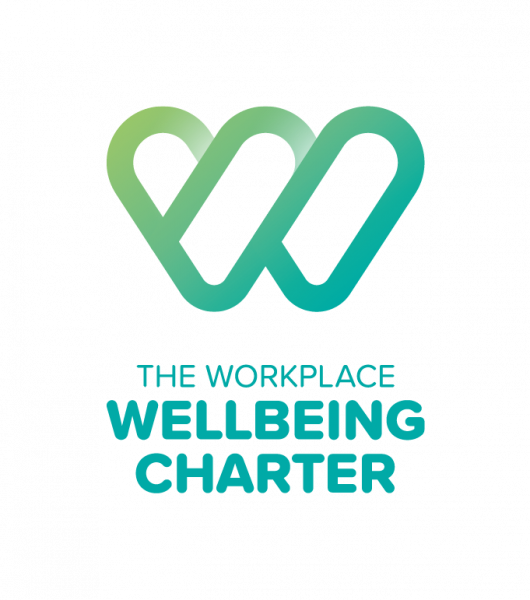 The workplace Wellbeing Charter logo green and blue